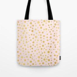 Luxe Rose Gold Polka Dots Pattern Seamless Vector, Drawn Metallic Tote Bag