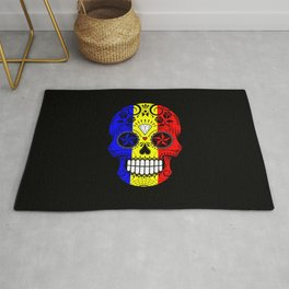 Sugar Skull with Roses and Flag of Romania Rug