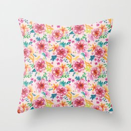 Pink Watercolor Delight Throw Pillow