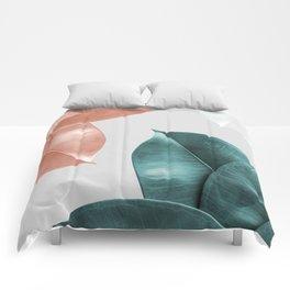 Blush ficus leaves Art print Comforters