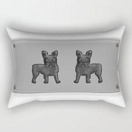 Black and White French Bulldog Twins Rectangular Pillow