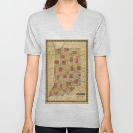 Map of Indiana showing Railroads and Townships (1858) Unisex V-Neck