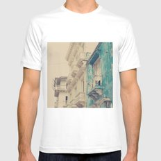 Grunge Summer Town (Retro and Vintage Urban, architecture photography, blue and cream) White Mens Fitted Tee MEDIUM