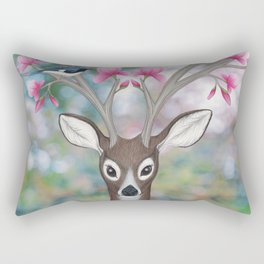 white tailed deer, black throated blue warblers, & magnolia blossoms Rectangular Pillow