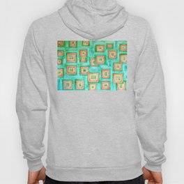 Multicolored Squares on Green Pattern  Hoody