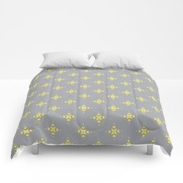 Ornamental Pattern with Grey and Lemon Yellow Colourway Comforters