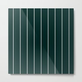 Forest Green Stripes Pinstripe Metal Print