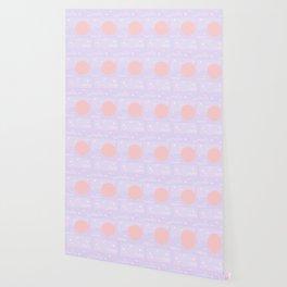 Memphis Summer Lavender Waves Wallpaper