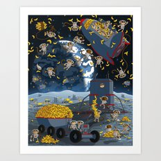 Space Monkeys Go Bananas! Art Print