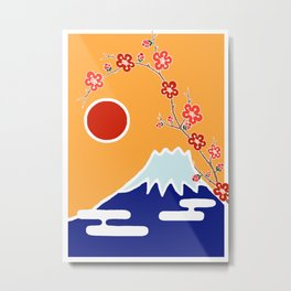 Mount Fuji and Sun Rise Metal Print