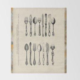antique cutlery Throw Blanket