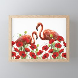 Two flamingos in Poppies field Framed Mini Art Print