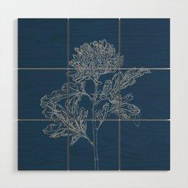 Chrysanthemum Blueprint Wood Wall Art
