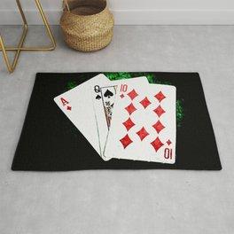 Blackjack Card Game, 21 Count, Ace Queen Ten Combination Rug