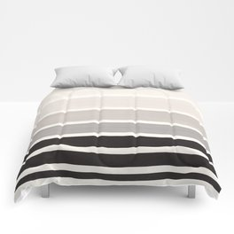 Grey Minimalist Watercolor Mid Century Staggered Stripes Rothko Color Block Geometric Art Comforters