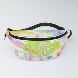 My happy world Doodle for children room Nursery home decor Fanny Pack