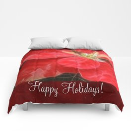 Mottled Red Poinsettia 1 Ephemeral Happy Holidays P5F1 Comforters
