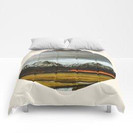 Iceland Landscape Grass Orange Sand & Grey Mountains Round Frame Photo Comforters