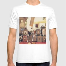 Old Cameras (Vintage and Retro Film Cameras Collection) White Mens Fitted Tee MEDIUM