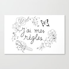 J'AI MES RÈGLES / I'M ON MY PERIOD Canvas Print