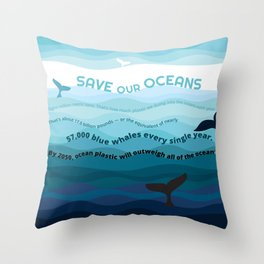 Recycle Plastic, Save our Oceans Throw Pillow