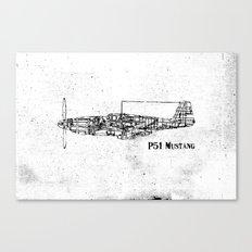 North American P51 Mustang (black) Canvas Print