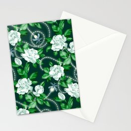 Midnight Sparkles - Gardenias and Fireflies in Emerald Green Stationery Cards