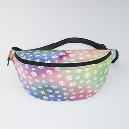 Rainbow Clouds with White Pawprints Fanny Pack