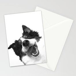 Black and White Happy Dog Stationery Cards