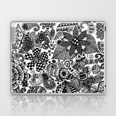 Black and white abstract floral pattern Laptop & iPad Skin