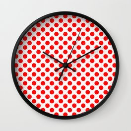 Polka Dot Red and White Pattern Wall Clock