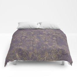 Modern elegant dark lavender watercolor gold floral Comforters