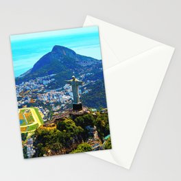 Beautiful Aerial view of Rio de Janeiro with Christ Redeemer and Corcovado Mountain - Brazil Stationery Cards
