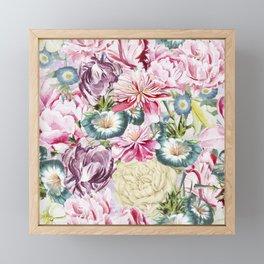 Vintage & Shabby chic -  Retro Spring Flower Pattern Framed Mini Art Print