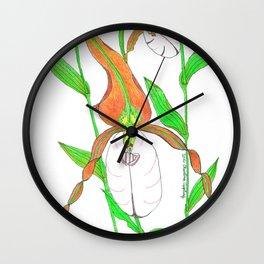 Mountain Lady Slipper Orchid Botanical Art Print Wall Clock