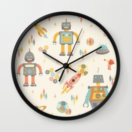 Vintage Inspired Robots in Space Wall Clock