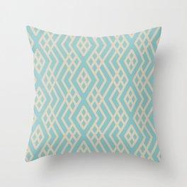 Aquamarine Beige Geometric Mosaic Pattern 3 V2 Color of the Year Aqua Fiesta and Sourdough Throw Pillow