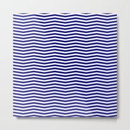 Australian Flag Blue and White Wavy Chevron Stripe Metal Print