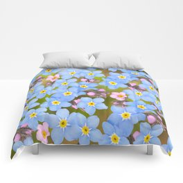 Forget-me-not flowers and buds - summer meadow Comforters