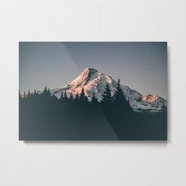 First Light on Mount Hood Metal Print