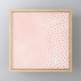 Rose Gold Pastel Pink Foil Paint Line Dots XXIII Framed Mini Art Print