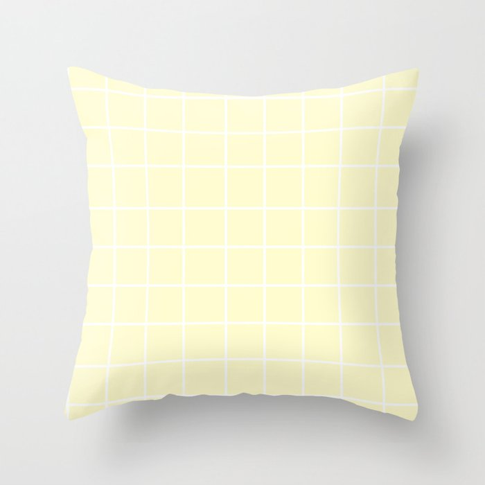 Grid (White/Cream) Throw Pillow