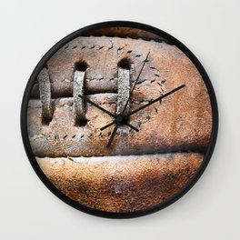 Old leather soccer ball Wall Clock