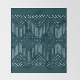 Teal Tribal Throw Blanket
