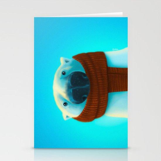 Polar bear with scarf Stationery Cards