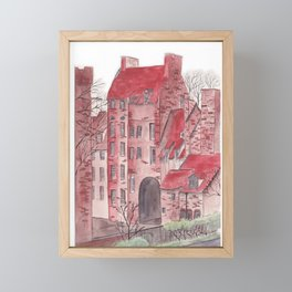 English castle watercolor illustration Framed Mini Art Print