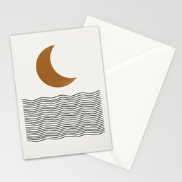 Moon by the ocean Stationery Cards