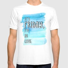 Friday I'm in love MEDIUM White Mens Fitted Tee