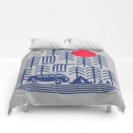 Camping Days / Van nature minimal birds sun Comforters