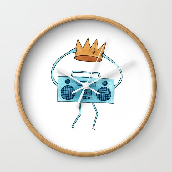 boombox holding a paper crown Wall Clock